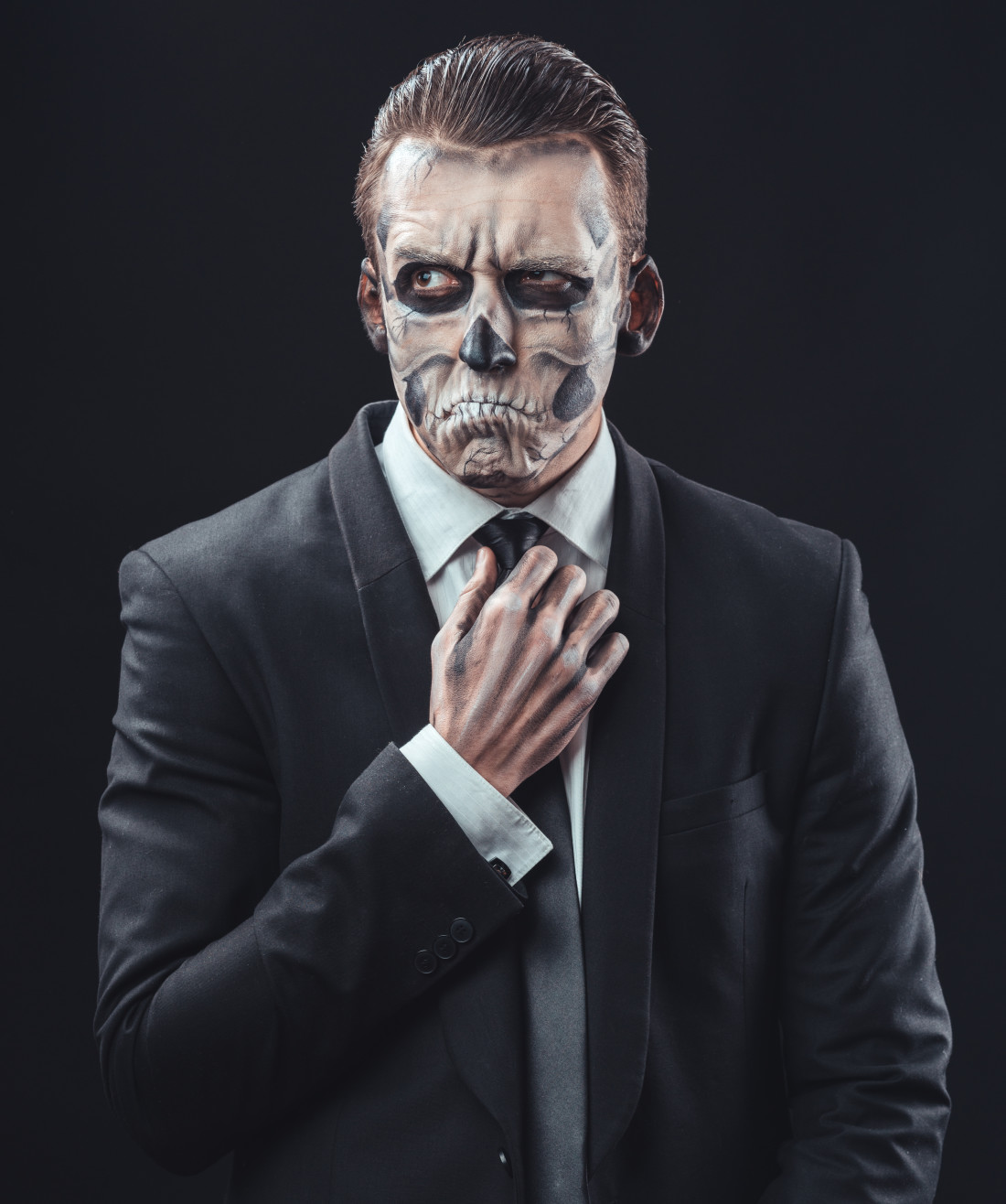 Business man with halloween make up
